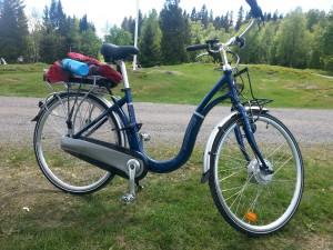 Med El-sykkel på Ullevålseter i Nordmarka, Oslo